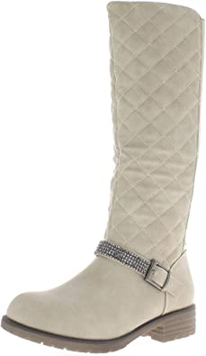 Stivali Donna Beige Tacchi di Trapuntato con Elastico di 3,5