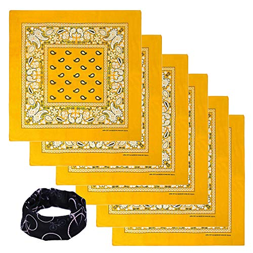 Basico Bandanas Value Pack 100% Cotton Paisley Head Wrap with Tube Face Mask/Headband (6pk- Gold) -