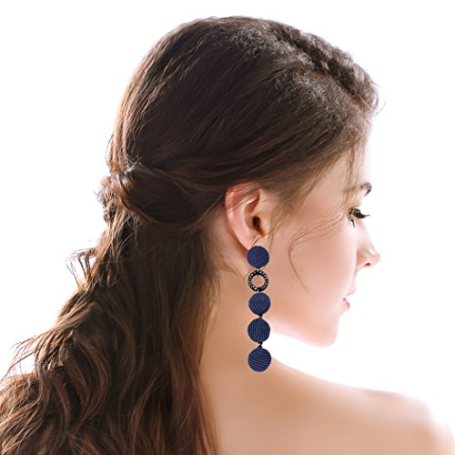 ringe Dangle Velvet Statement Drop Earrings for Women and Girls (Navy) ()