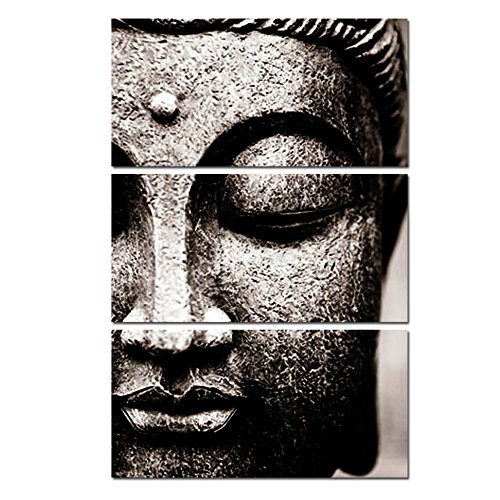 Photo Buddha Wall Art Print on Canvas Home Living Room Decorations Wall Art set of 3,16*32inch Gray with DIY wood Frame ()