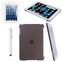 HDE iPad Mini Case Snap-On Back Cover Hard Shell for iPad Mini / Mini 2 / Mini 3 / Retina with Screen Protector + Stylus (Gray)