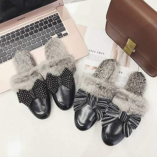 Medias Arco Solo Versátiles Baotou Raya De Zapatillas Zapatos Otoño JBLDY Mujeres Pelo Real Moda 7wSvgxIq0