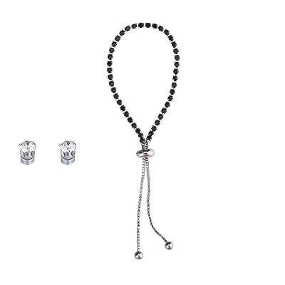 New Popular Diamond Rhinestone Bracelet Earrings Set Adjustable Friendship Bracelet Fashion Personalized Gift Black: Clothing