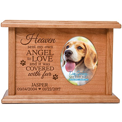 Cremation Urns for Pets SMALL Memorial Keepsake box for Dogs and Cats, personalized Urn for pet ashes Heaven sent my own ANGEL TO LOVE SMALL portion of ashes holds 2x3 photo