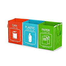 Recycle Waste Bag Separate Recycle Bin Waterproof 3 Compartments Container