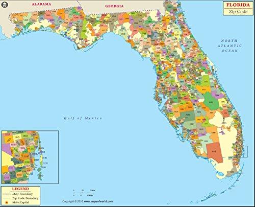 Florida Zip Code Map - Laminated (36