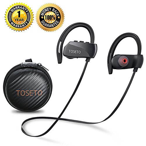 Bluetooth Headphones Wireless Earbuds Waterproof Sport Headset With Mic Noise Cancelling Earphones In Ear HD Stereo for Gym Running Exercise and Working Out 12 Hour Battery TOSETO T1 (Top Rated Bluetooth Headphones For Working Out)