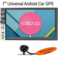 7MILE UNIVERSAL QuadCore 7 inch 2-Din Android 5.1 Lollipop Car GPS Stereo Radio HD 1024x600 Muti-touch Screen GPS Navigation, 3G WIFI Bluetooth OBD2 Mirror Link with Backup Camera by American Pumpkins