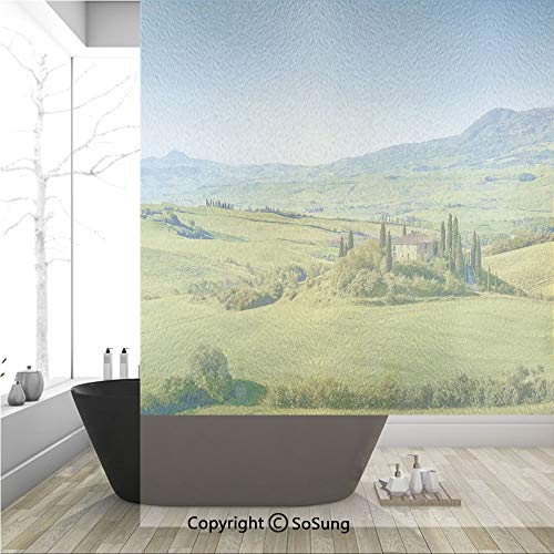 - 3D Decorative Privacy Window Films,Rural Landscape Cypresses Along The Path to Ancient Vineyard Farm House,No-Glue Self Static Cling Glass Film for Home Bedroom Bathroom Kitchen Office 36x48 Inch