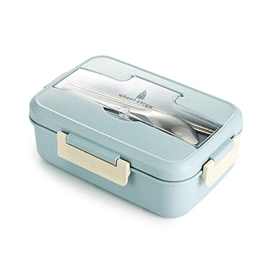 STRUGGGE Bento Box de Paja de Trigo Caja de Almuerzo con vajilla ...