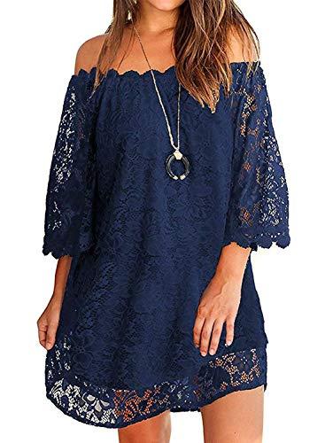 - Twinklady Women's Off Shoulder Flowy Vintage Lace Shift Loose Mini Dress Navy Blue S