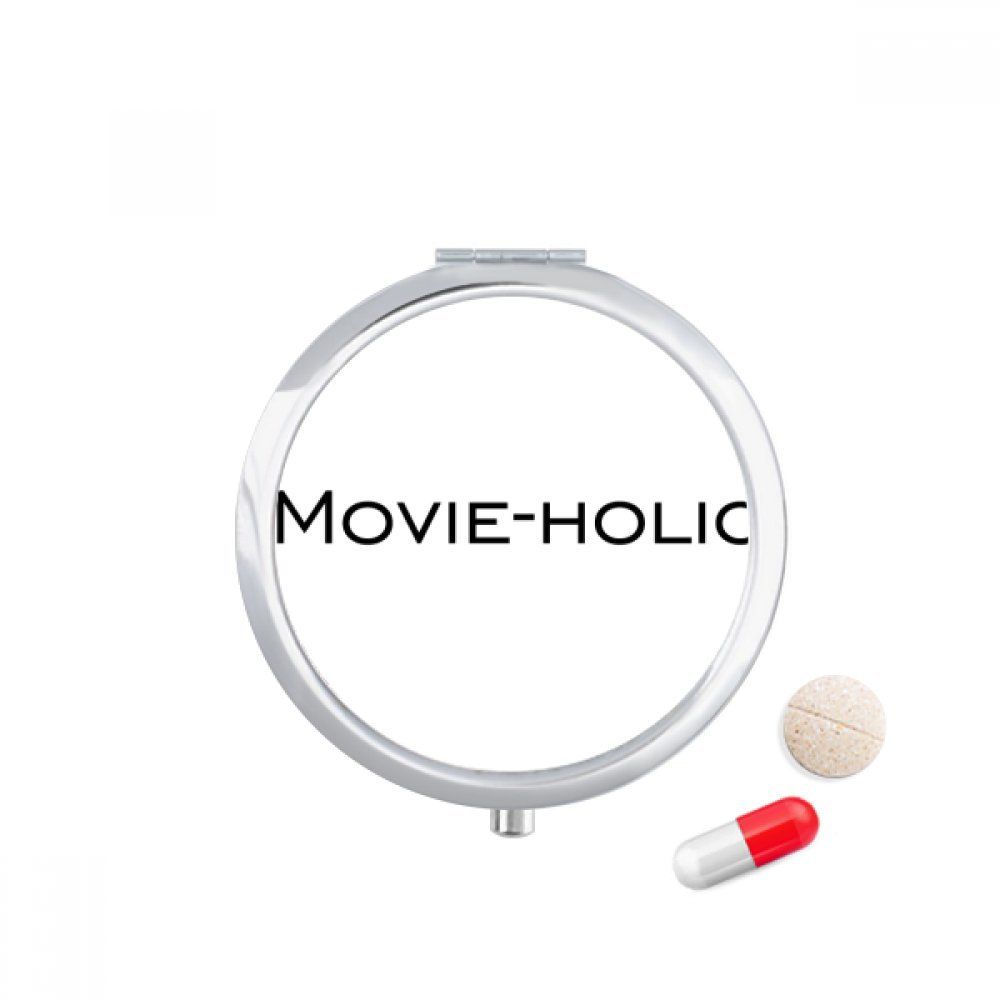 Stylish Word Movie-holic Travel Pocket Pill case Medicine Drug Storage Box Dispenser Mirror Gift