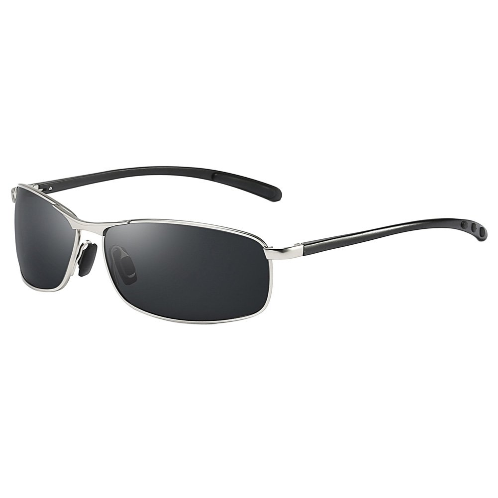 ZHILE Rectangular Polarized Sunglasses Al-Mg Alloy Temple Spring Hinge UV400 (Silver, Grey) by ZHILE