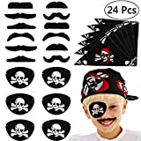 VAMEI 24 PCs Pirate Party Supplies Eye Patches Pirate Bandana Fake Mustaches Halloween Costume Party Favors Captain Pirate Costume Accessories Boys Girls Kids