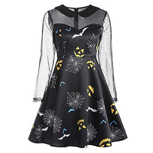 LOKODO Women's Plus Size Halloween Print Lace Patchwork Long Sleeve O-Neck Dress Cosplay Party Dress Black L
