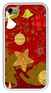 celebration of christmas TPU Case Cover for iPhone 4 and iPhone 4S White New Year gift