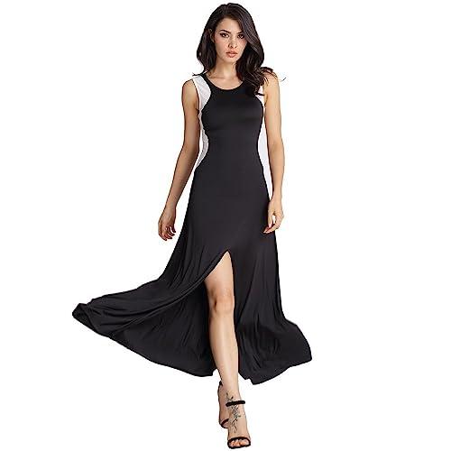 Vestido sin mangas negro del vestido de noche del hilado de la red de empalme sin mangas