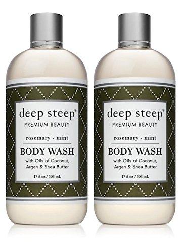 Deep Steep Rosemary Mint Body Wash (Pack of 2) With Aloe Vera, Peppermint Oil, Rosemary Oil, Orange Oil, Geranium Oil, Fir Needle Oil, Argan Kernel, Shea Butter, Olive Oil and Molasses, 17 oz. Each