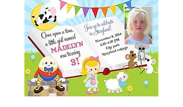 Amazon Nursery Rhyme Birthday Invitation Girls Story Book Party Invite Photo Handmade