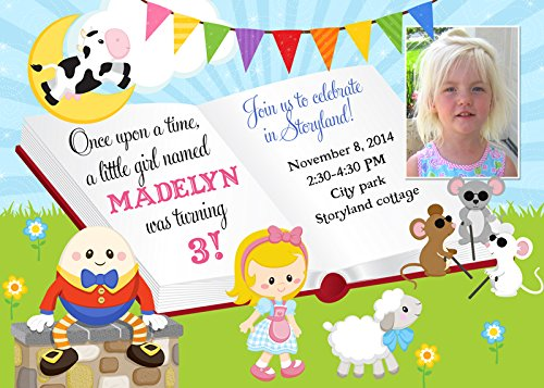 Amazoncom Nursery Rhyme Birthday Invitation Girls Story Book
