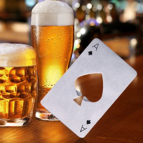 JD Million shop 1Pcs Portable Stainless Steel Poker Playing Card Ace of Spades Bar Tool Soda Beer Bottle Cap Opener Gift For Wallet Bar Tools Kitchen