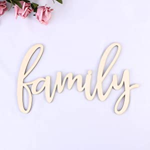 VOSAREA Family Wood Sign Home Wall Decorations Family Word Art Wood Cutout Wall Art Unfinished Family Wooden Letters 30.5x18x0.4 cm