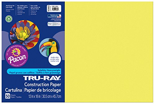 "Pacon Tru-Ray Construction Paper, 12"" x 18"", 50-Count, Lively Lemon (103403)"