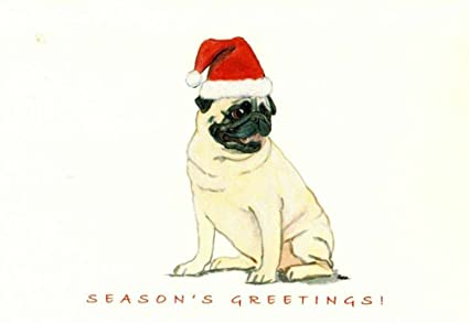 Pug Christmas Cards.Amazon Com Pug Christmas Cards Box Of 8 Cards Office Products
