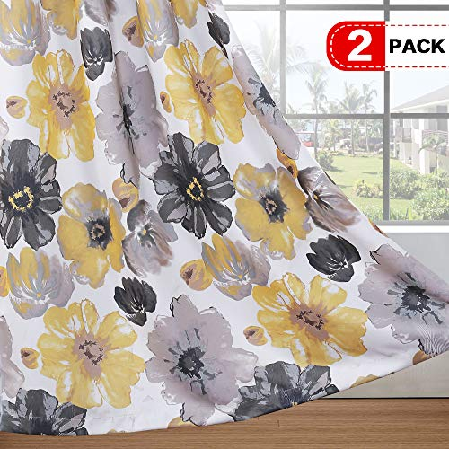 H.VERSAILTEX Room Darkening Curtains for Bedroom Living Room Thermal Insulated Window Treatment Panels Decorative Vintage Blooming Floral with Yellow Gray Pattern - 2 Panels - 52 by 63 inch