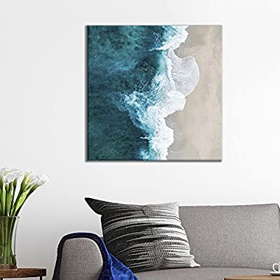 Square Canvas Wall Art - Clear Sea Waves Rushing to The Beach Viewd from The Sky - Giclee Print Gallery Wrap Modern Home Art Ready to Hang - 12x12 inches
