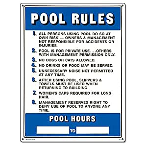 Poolmaster 40322 commercial pool rules sign - Residential swimming pool regulations ...
