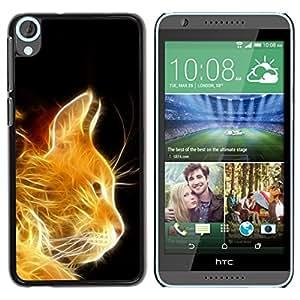 KOKO CASE / HTC Desire 820 / fuego gato llamas naranja jengibre retrato peludo / Delgado Negro Plástico caso cubierta Shell Armor Funda Case Cover