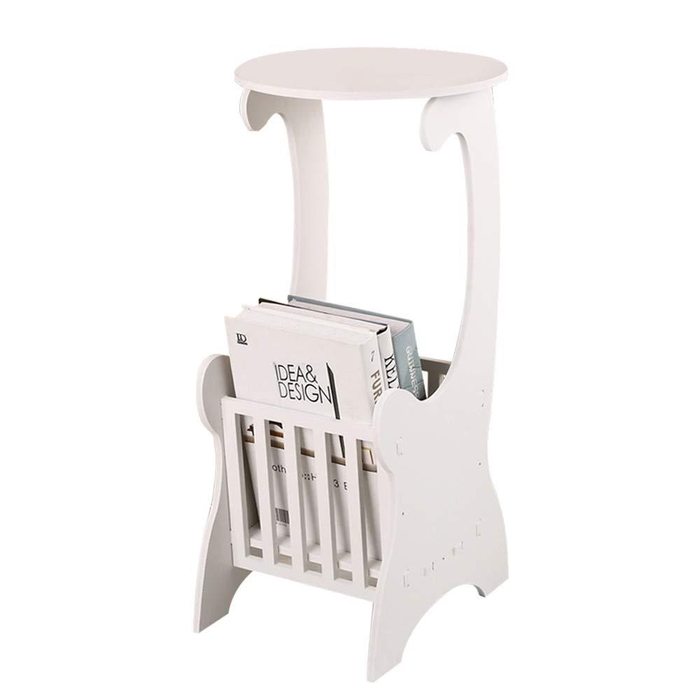 Yinmake - Tavolino rotondo da divano, con design moderno, da salotto, con vano portaoggetti, bianco, da montare ANQU