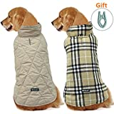 Dog Jacket Reversible Cloth - with Clothes Hanger, Cold Weather Coats Dog Apparel Warm Vest for Winter,Beige Plaid,XL