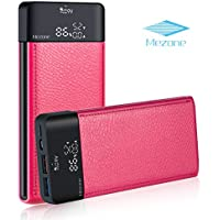 MEZONE Portable Phone ChargerPower Bank 10000mah Fast Charge External Battery Charger with LCD Digital Screen, 2-USB Ports for iPhone iPad Samsung Smart Phone Tablet (hot-pink)