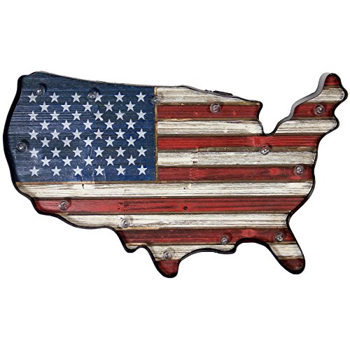 Exhart LED American Flag Metal and Wood Hand Painted Wall Decor - US Flag Wall Art Home Decor w/Folk Art Design - Solar Garden Lights, Americana Lighting for Patio, Garden or Yard, 11