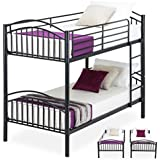 Mecor Bunk Beds-Twin Over Twin Convertible Metal Bunk Bed Frame with Movable Ladder, Metal Slats for Kids/Adult Children(Black)