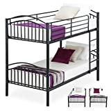 Mecor Twin over Twin Metal Removable Bunk Beds Frame Kids/Adult Children Bedroom Furniture with Ladder (Black-Convertible)