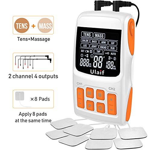 (TENS Unit Muscle Stimulator Pulse Massager Combination, Ulaif Best Professional Portable 18 Modes Electronic Pulse Massager, Pain Relief, 2-4 Channels Output, 8 Long Life Pads FDA Cleared)
