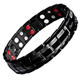 EBUTY Titanium Magnetic Therapy Bracelet Double Row 4 Element All Black with Free Link Removal Tool