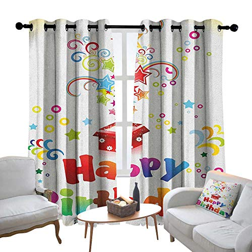 Lewis Coleridge Curtains for Living Room Birthday,Stars Swirls Spirals and Circles Coming Out of Present Surprise Boxes Happiness, Multicolor,Complete Darkness, Noise Reducing Curtain 100