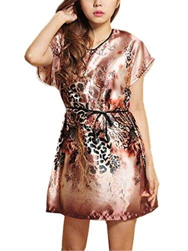 Stampa da Pigiama da Camicia Notte Sleepwear da Scivoloso Vestito BESTHOO Notte Morbidi Femminili Abito Comoda Manica Notte Floreale Coffee2 da Donna Corta Vestito 5q8wX77E