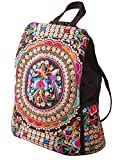 LeaLac Vintage Women Canvas Backpack Handmade Embroidered Bag Girls Ethnic Backpack Flower Rucksack Travel School Bag 02
