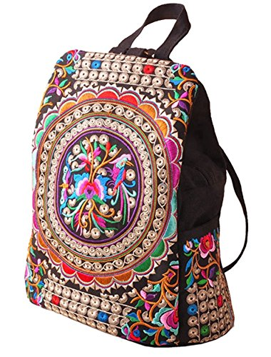 LeaLac Vintage Women Canvas Backpack Handmade Embroidered Bag Girls Ethnic Backpack Flower Rucksack Travel School Bag - Hippie Naked Girls