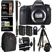 Canon 6D EOS 20.2 MP CMOS Digital SLR Camera Body Only + 64GB + Polaroid Tripod + Monopod + Ritz Gear Bag + Spare Battery + Cleaning Kit + Remote Control + Accessory Bundle