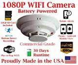 1080P FULL HD Battery Powered WIFI Commercial Grade Smoke Detector Alarm IP Spy Camera P2P Wi-Fi Mobile Hidden Nanny Camera Spy Gadget up to 30 DAY RUNTIME (Remote View, Remote Playback, Mobile Alert)