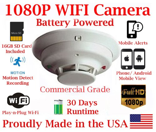 1080P FULL HD Battery Powered WIFI Commercial Grade Smoke Detector Alarm IP Spy Camera P2P Wi-Fi Mobile Hidden Nanny Camera Spy Gadget up to 30 DAY RUNTIME (Remote View, Remote Playback, Mobile Alert) by AES Spy Cameras