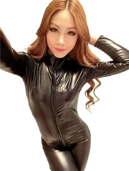 75c30ae6f4c4 XSQR Sexy Women Catsuit Costume Faux Leather PVC Jumpsuit Playsuit Wet Look  Latex Unitard Bodysuit Clubwear
