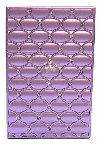 Purple Metallic Studded Push Open Cigarette Case, King Size, 3116M20P