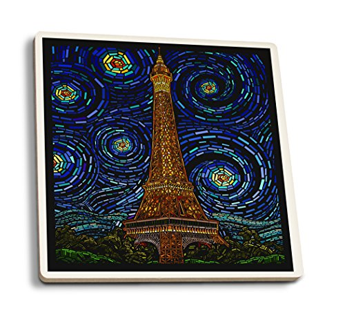 Lantern Press Paris, France - Eiffel Tower Mosaic (Set of 4 Ceramic Coasters - Cork-Backed, Absorbent)
